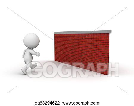 3D Man Running Toward Brick Wall