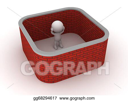 3D Man Stuck With Brick Wall Around