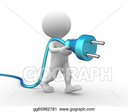 Stock Illustration 3d Man With A Electric Plug Clipart