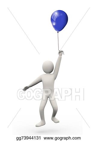 Stock Illustration - 3d man with balloon  Clipart Drawing gg73944131