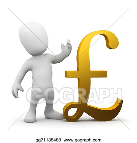 Stock Illustrations 3d Man With Uk Pound Sterling Symbol Stock