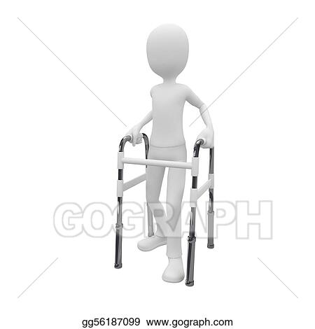 Stock Illustration - 3d man with walking frame. Clip Art gg56187099 ...