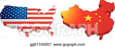 3d Map Of Us.Vector Clipart 3d Map Of China And Us With Flag Vector