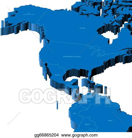 Vector Art 3d map of united states and central america Clipart