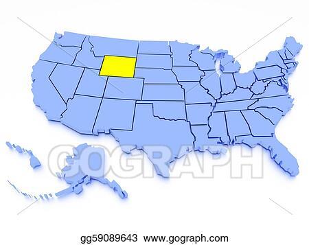 Stock Illustration - 3d map of united states - state wyoming ...