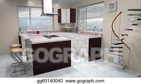 Stock Illustration 3d Modern Kitchen Design Made Using Clipart