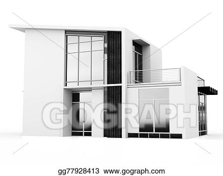Drawing 3d monochrome modern house Clipart Drawing gg77928413