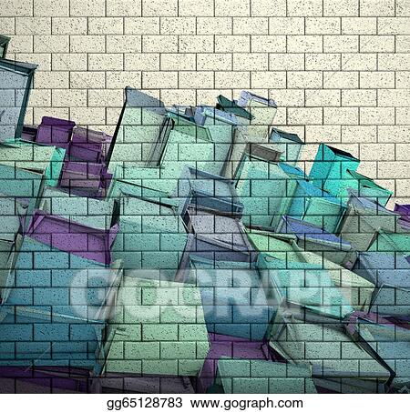 3d Mosaic Tile Brick Wall With Cube Fragmented Pattern