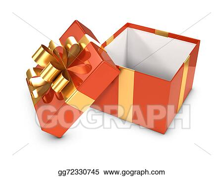 3d Open Gift Box With Gold Ribbon