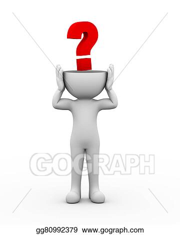 Stock Illustration 3d Open Head Man Question Mark Clipart Drawing