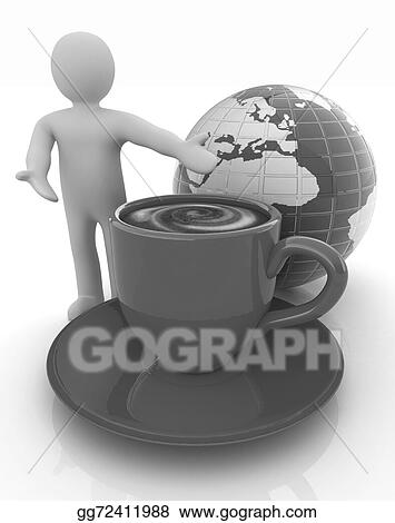 People Man Person Presenting Mug Of Coffee With Milk Gl