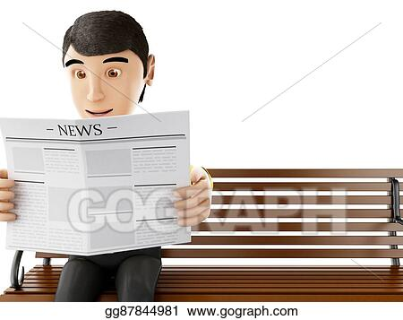 Stupendous Stock Illustration 3D People Reading On A Wooden Bench Bralicious Painted Fabric Chair Ideas Braliciousco