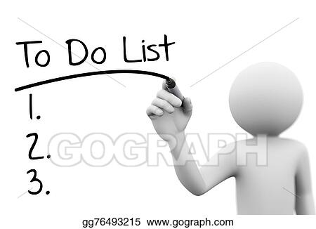 3d person writing to do list on transparent screen