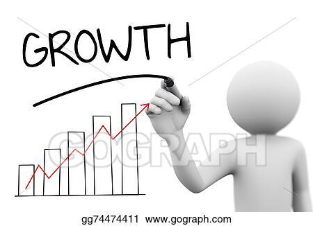 Stock Illustration 3d Person Writing Word Growth Progress