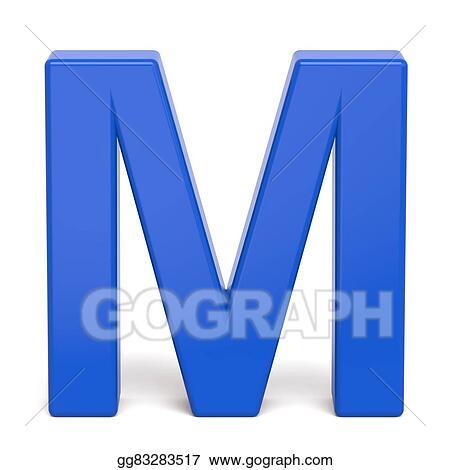 Stock Illustration 3d Plastic Blue Letter M Clipart Illustrations