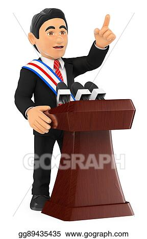 drawing 3d politician giving a speech of investiture president