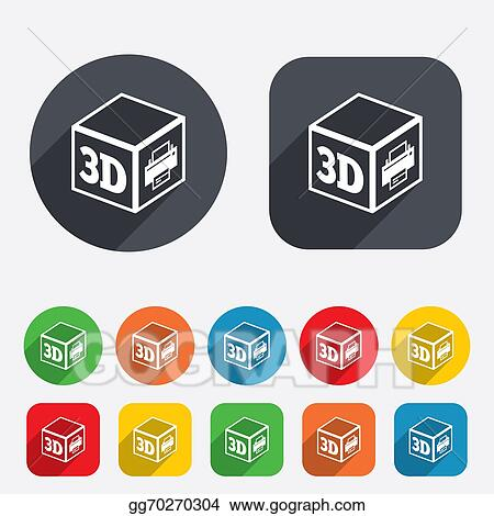 Clip Art 3d Print Sign Icon 3d Cube Printing Symbol Stock Illustration Gg70270304 Gograph