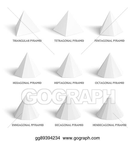 vector clipart 3d pyramids template realistic with shadow vector