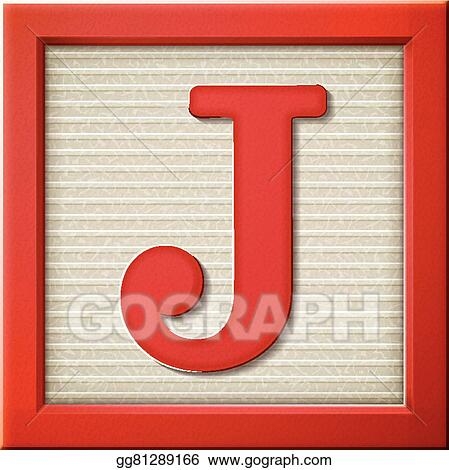 Vector Art 3d Red Letter Block J Clipart Drawing Gg81289166