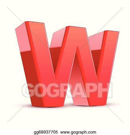Vector Stock 3d Red Letter W Clipart Illustration Gg68937705