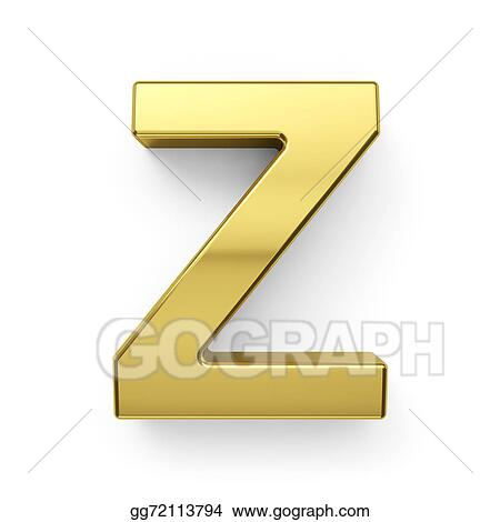 Drawings - 3d render of golden alphabet letter simbol - z