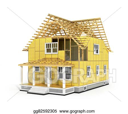Stock Illustrations - 3d render of house in construction