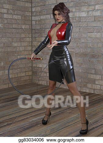 Clip Art - 3d render of mistress with whip. Stock