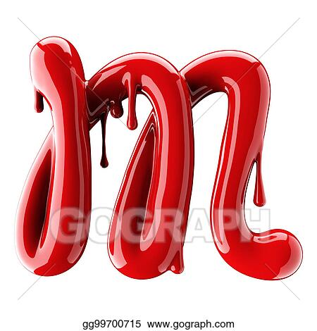 3d render of red alphabet make from nail polish handwritten cursive letter m isolated on white