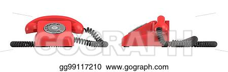 Clipart - 3d rendering of an old-fashioned rotary phone in