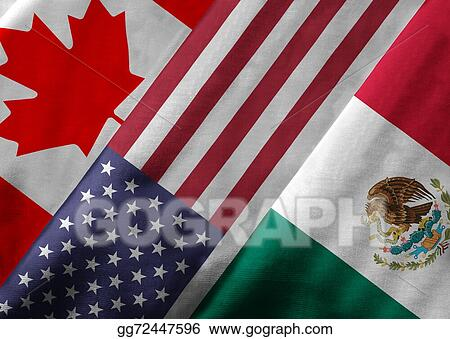 Drawing 3d Rendering Of North American Free Trade Agreement Nafta