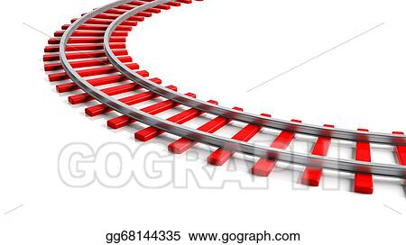 Stock Illustration - 3d rendering red railway track, isolated on