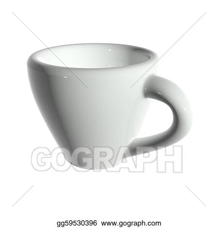 eff3e4594bf Clip Art - 3d rendering white tea cup isolated without shadow. Stock ...