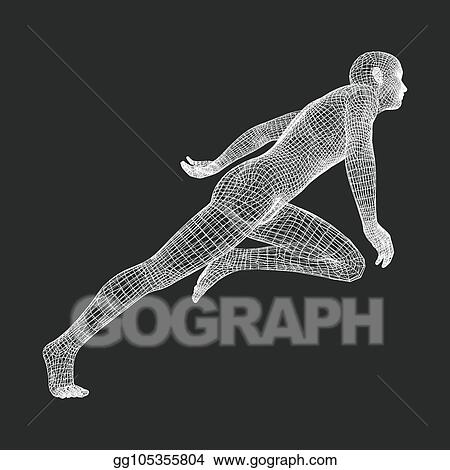 39ec423ab5c88 3d Running Man. Human Body Wire Model. Sport Symbol. Low-poly Man in  Motion. Vector Geometric Illustration.
