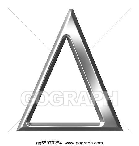 Clip Art 3d Silver Greek Letter Delta Stock Illustration