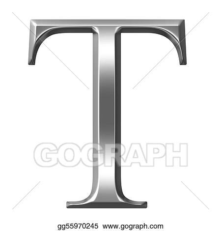 Stock Illustration 3d Silver Greek Letter Tau Stock Art