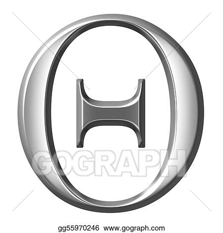 3D Silver Greek Letter Theta
