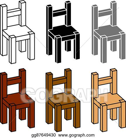 Vector Art - 3d simple wooden chair black symbol  Clipart Drawing