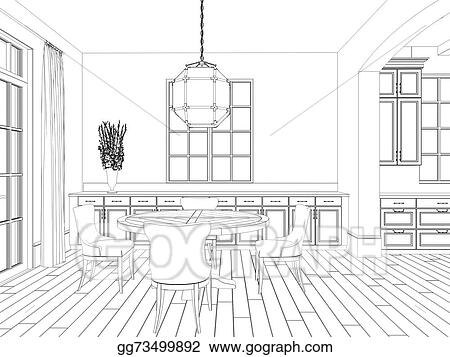 Drawings 3d Sketch Of Kitchen And Dining Interior Stock