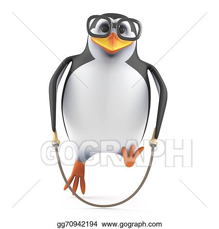 drawing 3d skipping rope penguin clipart drawing gg70942194 gograph