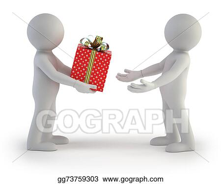 Stock Illustration 3d Small People Gift Box Clip Art Gg73759303