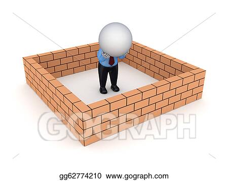 3d Small Person Behind Brick Wall