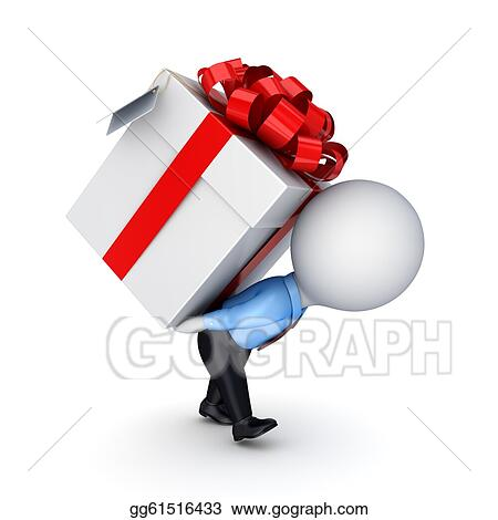 Drawing 3d Small Person Pushing A Gift Box Clipart Drawing