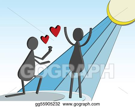 Eps Vector 3d Stick Figure Marriage Proposal Stock Clipart