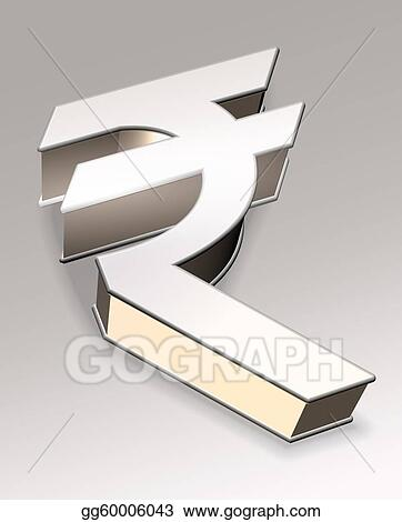 Stock Illustrations 3d Symbol Of Indian Rupee Stock Clipart