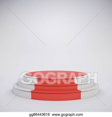 stock illustrations 3d template of blank empty podium stock