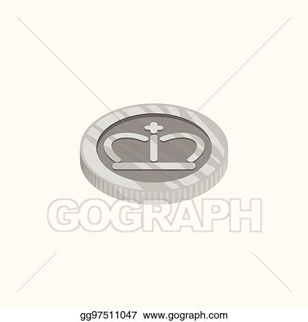 Vector Clipart 3d Vector Icon For Silver Coin From Top View The