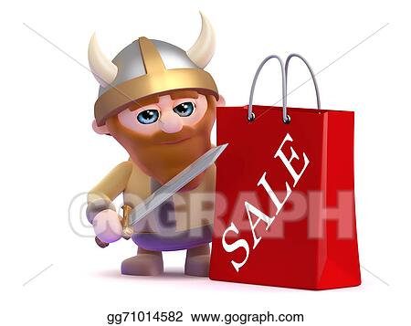 976d3dc18bf Stock Illustration - 3d render of a viking with a sale shopping bag. Stock  Art Illustrations gg71014582