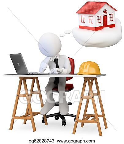 3d White Business Person Dreaming In His Office With New Home A Computer On The Table Image Isolated Background