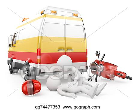 motorcycle crash clipart  Stock Illustration - 3d white people. ambulance in a motorcycle ...