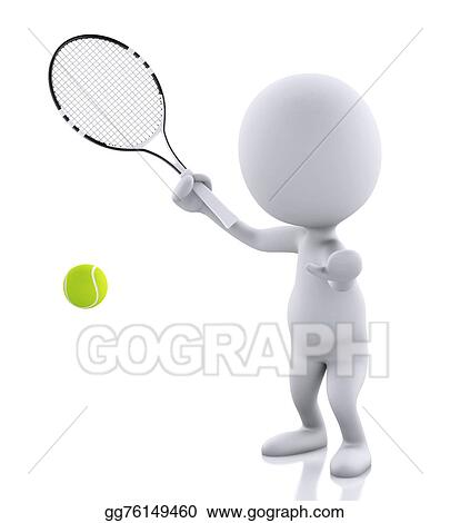 Stock Illustration 3d White People With Tennis Racket And Ball